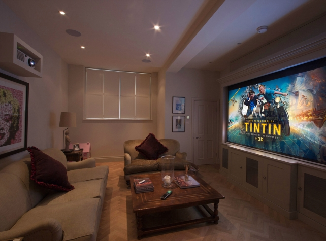 Fulham home cinema with RTI handset, Panasonic projector and B&W Surround Sound