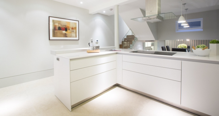 Fulham Road Chelsea Kitchen Crestron TPMC-4SM Door Entry CCTV Multi-Room Audio and Crestron Lighting Control