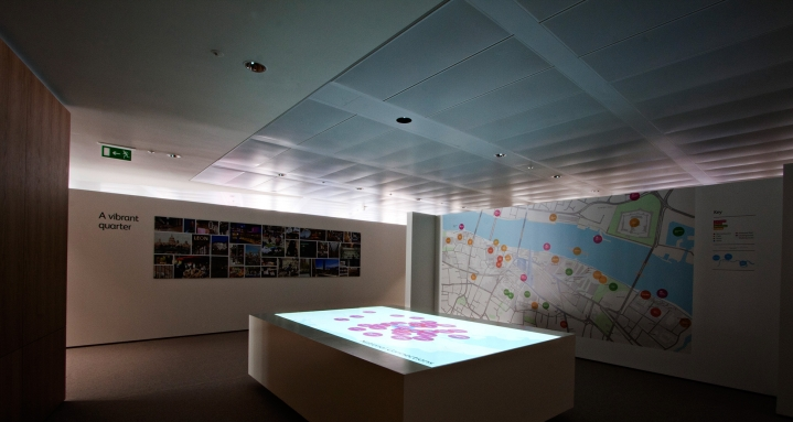 Downward firing projector designed to show maps for prospective residents of The Shard