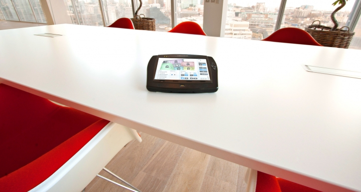 Crestron TPMC-8X on desk in The Shard