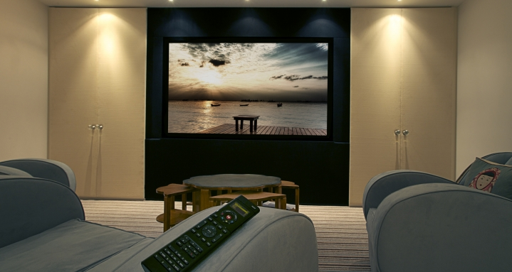Marlow Control4 Home cinema with Control4 SR250 remote control