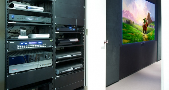 Hampstead Equipment rack for basement cinema and Crestron home automation system