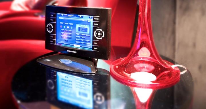 Basement cinema Crestron TPS-6X touchpanel
