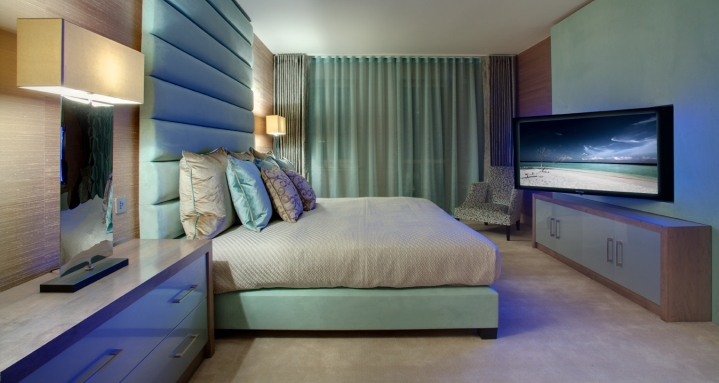 """Master Bedroom with 50"""" plasma on pull & rotate wall bracket and Speakercraft Mode"""