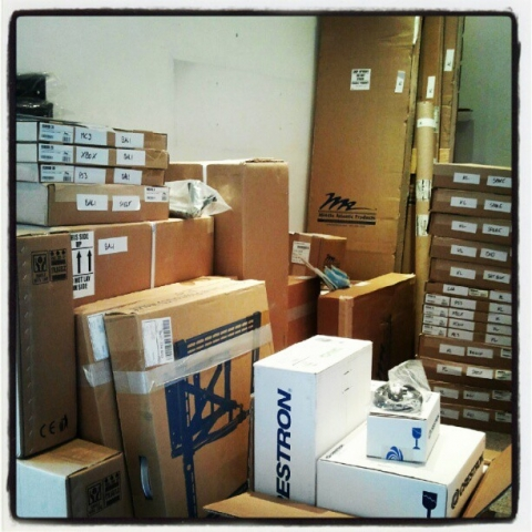 Crestron & Middle Atlantic products about to ship to our new contracts in Malaysia, & Bali